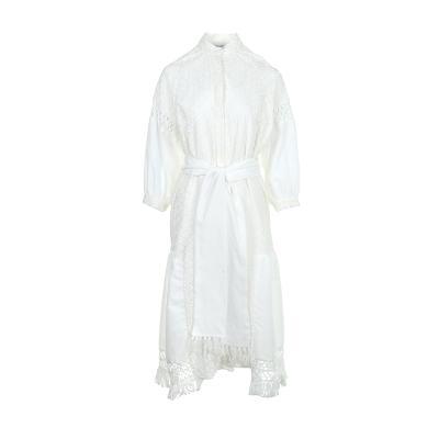 tassel detail shirt dress white
